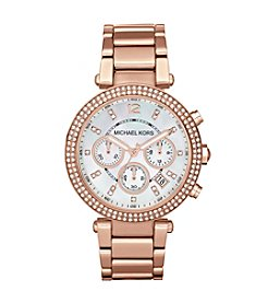 Michael Kors® Rose Goldtone Parker Chronograph Watch with Clear Stones on Top Ring