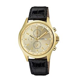 Citizen® Quartz Men's Goldtone Chronograph Black Leather Strap Watch