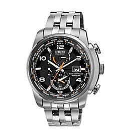 Citizen® Eco-Drive Men's Silvertone And Black World Time A-T Watch