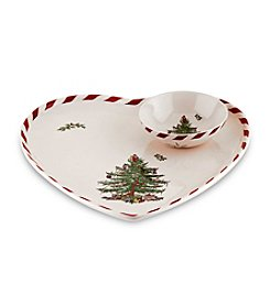 Spode® Christmas Tree 2-pc. Peppermint Heart-Shaped Dip Set