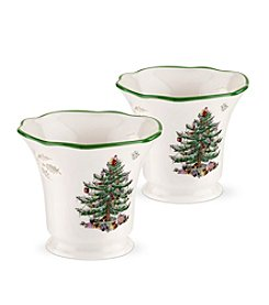 Spode® Christmas Tree Set Of Two Tealight Holders With Tealights