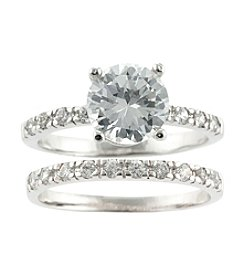 Athra Silver Plate Cubic Zirconia Ring Set