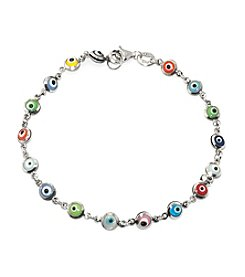 Athra Sterling Silver Multi Color Guardian Eye Bracelet