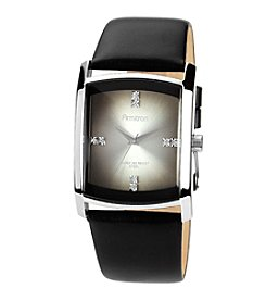 Armitron Men's 33mm Crystal Accent Black Leather Strap Dress Watch