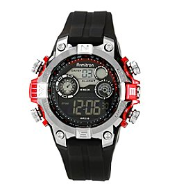 Armitron Sport Men's Black Digital with Red Metallic Accents Strap Watch