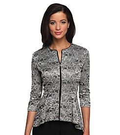 Alex Evenings® Zipper Front Lace Overlay Jacket