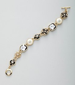 Napier® Boxed Goldtone, Jet and White Floral Line Bracelet