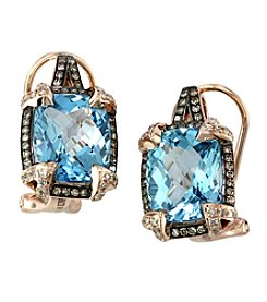 Effy® Blue Topaz, Brown and White .32 ct. t.w. Diamond Earrings in 14K Rose Gold