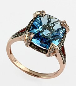 Effy® Blue Topaz, Brown and White .31 ct. t.w. Diamond Ring in 14K Rose Gold
