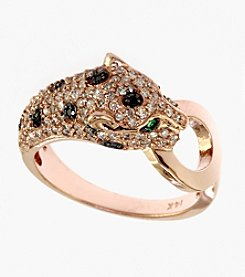 Effy® Signature Collection Black and White .64 ct. t.w. Diamond & .02 ct. t.w. Emerald Panther Ring in 14K Rose Gold