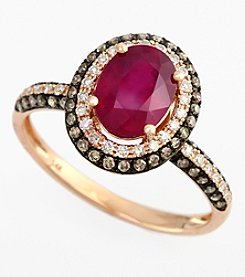 Effy® Lead Glass Filled Ruby 1.52 ct. t.w. & Brown/White Diamond .50 ct. t.w. Ring in 14K Rose Gold