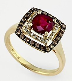 Effy® Lead Glass Filled Ruby 1.42 ct. t.w. & Brown/White Diamond .34 ct. t.w. Ring in 14K Rose Gold