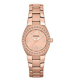 Fossil® Women's Three Hand Watch in Rose Goldtone
