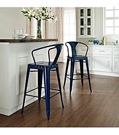 Crosley Furniture Amelia Set of 2 Metal Cafe Barstools