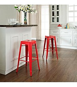 Crosley Furniture Amelia Set of 2 Metal Cafe Backless Barstools