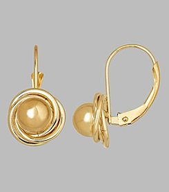 14K Yellow Gold 6mm Ball with Loveknot Bezel Lever Back Earrings