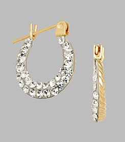 14K Yellow Gold Swirl Crystal Hoop Baby Earrings