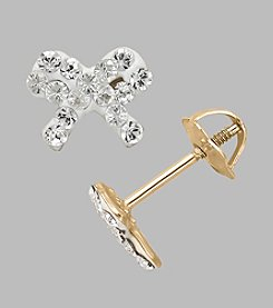 14K Yellow Gold Clear Crystal Bow Baby Stud Earrings