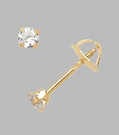 14K Yellow Gold 2.5mm Cubic Zirconia Baby Earrings
