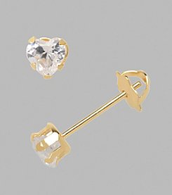 14K Yellow Gold 4mm Cubic Zirconia Heart Baby Button Earrings