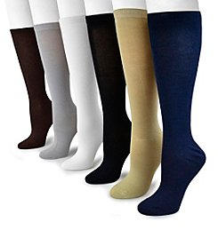MUK LUKS Women's 6-Pack Rayon from Bamboo Under the Knee Socks
