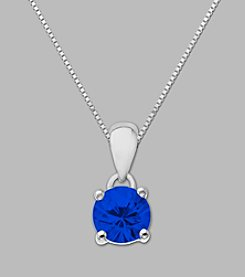 Created Sapphire Round Pendant in Sterling Silver