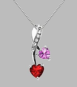 Created Pink Sapphire & Created Ruby Pendant in Sterling Silver