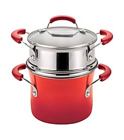 Rachael Ray® 3-qt. Red Gradient Hard Enamel Nonstick Covered Steamer Set