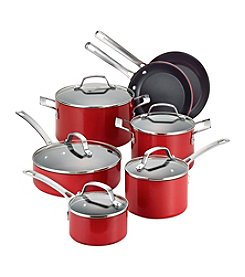Circulon® Genesis 12-pc. Red Aluminum Nonstick Cookware Set