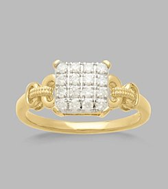 0.33 ct. t.w. Diamond Square Ring in 10K Yellow Gold