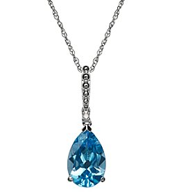 Blue Topaz and Diamond Pendant in Sterling Silver