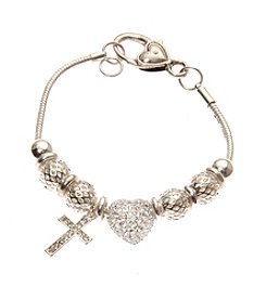 L&J Accessories Silvertone Pave Cross Heart Charm Bracelet