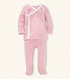 Ralph Lauren Childrenswear Baby Girls' Pink Striped 2-pc. Kimono Set