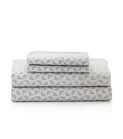 LivingQuarters Easy Care Geo Print Microfiber Sheet Set