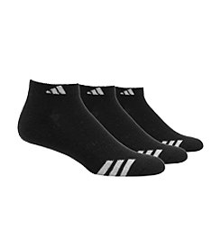 adidas® Men's 3-Pack Black/White Climalite Cushioned Low-Cut Socks