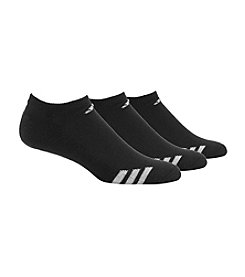 adidas® Men's 3-Pack Black/White Cushioned No-Show Socks