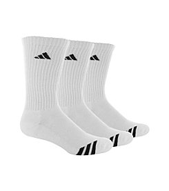 adidas® Men's White 3-Pack Cushioned Striped Crew Socks