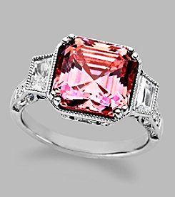 Balentino® Sterling Silver Ring With Light Pink Fancy Cut Center Stone Made With Swarovski® Cubic Zirconia Elements