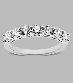 Balentino® Sterling Silver Band Ring with White Round Cut Stones Made with Swarovski ® Cubic Zirconia Elements