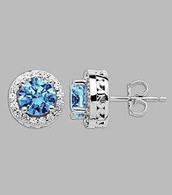 Balentino® Sterling Silver Blue and White Swarovski Cubic Zirconia Stud Earrings
