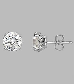 Balentino® Sterling Silver White Swarovski Cubic Zirconia Stud Earrings