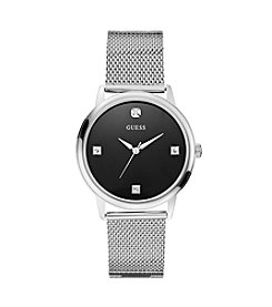 GUESS Silvertone Slim Round Diamond Mesh Watch