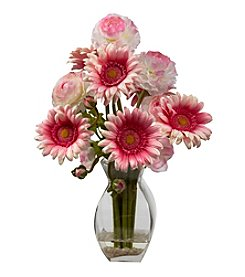 Nearly Natural® Gerber Daisy and Ranunculus Delight Arrangement