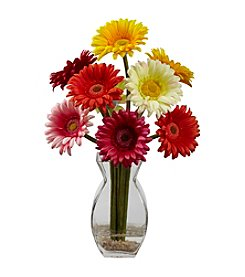 Nearly Natural® Gerber Daisy with Vase Arrangement