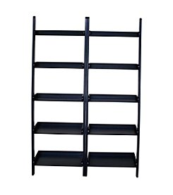 International Concepts Set of 2 5-Tier Leaning Shelves