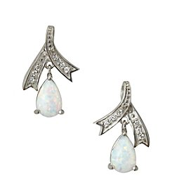 Designs by FMC Sterling Silver Plated Created Opal and Cubic Zirconia Boxed Earrings