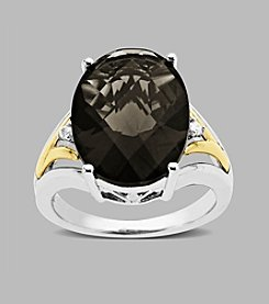 Smoky Quartz Ring in Sterling Silver and 14K Gold