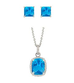 Designs by FMC Sterling Silver Plated Lab Created Blue Spinel Pendant and Earrings Boxed Set