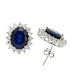 Designs by FMC Sterling Silver Plated Genuine Stone Blue Topaz and Cubic Zirconia Boxed Earrings