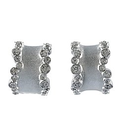 Effy® .28 ct. t.w. Diamond Wide Hoop Earrings in Sterling Silver